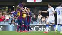 The Barça B team celebrate the first goal against Zaragoza. PHOTO: VÍCTOR SALGADO-FCB.