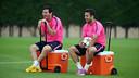 Leo Messi y Jordi Alba, en el entrenamiento de esta mañana / FOTO: MIGUEL RUIZ - FCB