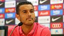 Pedro pendant la conférence de presse. PHOTO: MIGUEL RUIZ-FCB.