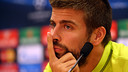 Gerard Piqué was speaking from the pressroom at the Ciutat Esportiva / PHOTO: MIGUEL RUIZ - FCB