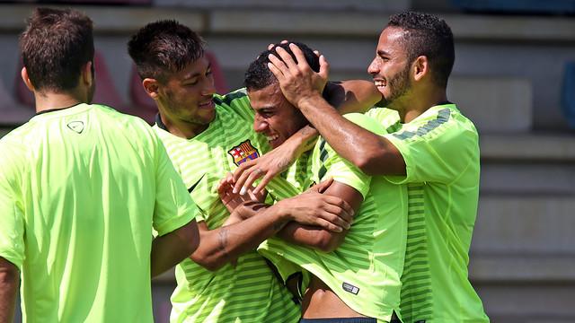Neymar, Rafinha i Douglas. FOTO: MIGUEL RUIZ-FCB.