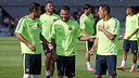 Alves trained normally on Tuesday and has since been declared fully fit. PHOTO: MIGUEL RUIZ-FCB.