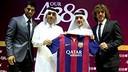 Carles Puyol and Luis Suárez with Ali Shareef Al Emadi and Akbar Al Baker / PHOTO: Qatar Airways