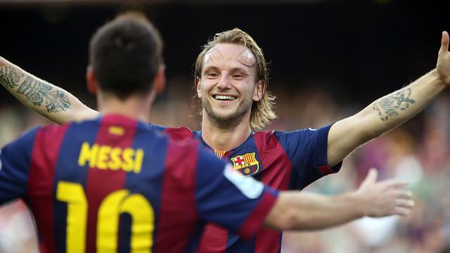 Rakitic e Messi, dois dos protagonistas contra o Granada.