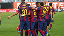 The FC Barcelona players celebrating one of the goals against Rayo Vallecano / MIGUEL RUIZ-FCB