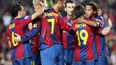 Barça players celebrate a goal against Almeria in the 2007-08 season  / FCB