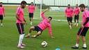 El primer equipo ha trabajado en el campo 2 de la Ciutat Esportiva / FOTO: MIGUEL RUIZ-FCB