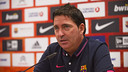 Xavi Pascual was giving an official Euroleague press conference. PHOTO. Victor Salgado - FCB