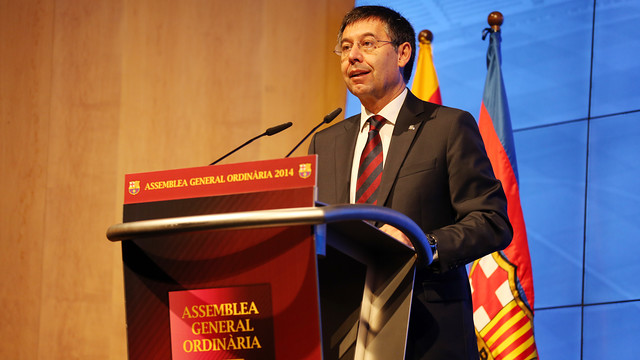 Josep Maria Bartomeu speaking to delegates at the Ordinary General Assembly 2014 / PHOTO: MIGUEL RUIZ - FCB
