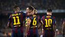 Neymar Jr, Xavi i Messi, els tres golejadors / FOTO: VÍCTOR SALGADO-FCB