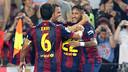 Los jugadores del Barça celebran uno de los tres goles contra el Eibar / FOTO: MIGUEL RUIZ - FCB