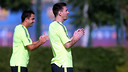 Messi and Xavi were among those at Monday morning's training / PHOTO: MIGUEL RUIZ - FCB