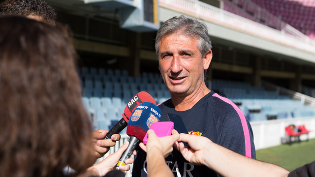 Jordi Vinyals trained with his U19 team on Monday. PHOTO: GERMÁN PARGA/FCB