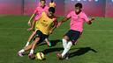 Luis Suárez y Rafinha, en el entrenamiento matinal de este miércoles / FOTO: MIGUEL RUIZ - FCB