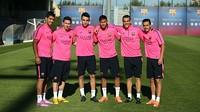 Suárez, Messi, Munir, Neymar, Sandro e Pedro, no treino da última quinta-feira