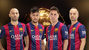 Mascherano, Neymar, Messi and Iniesta candidates for the Ballon d'Or 2014. PHOTO: Fotomuntatge FCB.