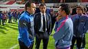 Xavi parlant amb Sergio i Luis Enrique / FOTO: MIGUEL RUIZ - FCB