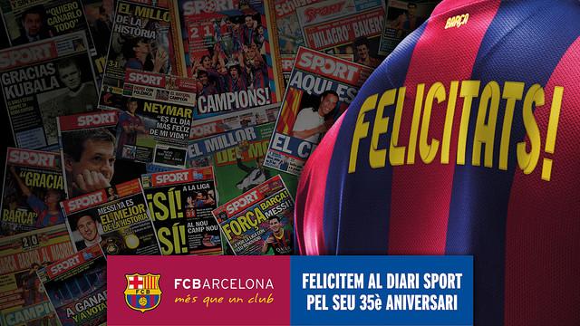 Barça congratulate the newspaper 'Sport'. PHOTO. FCB PHOTOMONTAGE