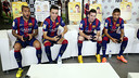 Neymar, Messi, Munir, and Alves playing FIFA 15