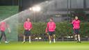 Masip, Vermaelen, Suárez and Mathieu were at the Monday session. PHOTO: VÍCTOR SALGADO-FCB.