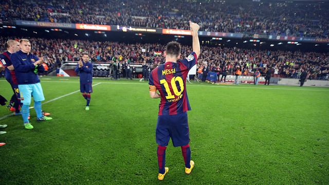 Leo Messi took a moment to thank the fans at Camp Nou after breaking ...