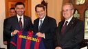 Vilanova, Bartomeu, Elías and Vidal-Abarca met Cypriot president Nicos Anastasiades / PHOTO: MIGUEL RUIZ-FCB