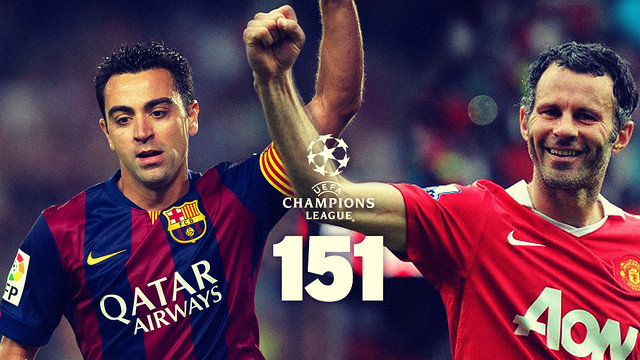Xavi and Giggs both have made 151 appearances in the Champions League  / PHOTO: Photomontage FCB