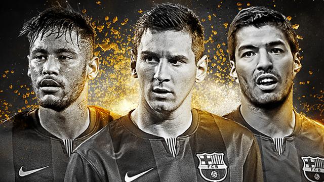 Fotomontagem com Neymar, Messi e Luis Suárez.