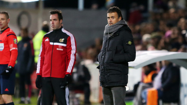 Luis Enrique was speaking after the 4-0 win on a cold night in Huesca / PHOTO: MIGUEL RUIZ - FCB