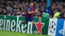 Luis Suárez celebrates his first goal for the team at the  Camp Nou / PHOTO: GERMAN PARGA- FCB