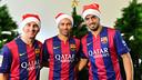 Messi, Mascherano et Suárez vous souhaite une bonne année PHOTO: FCB.