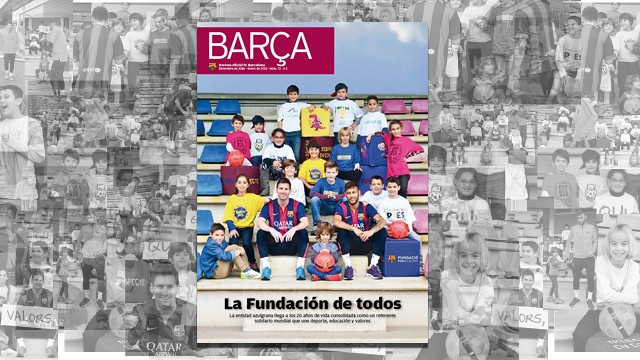 Front page of the 'Revista Barça' dedicated the Foundation