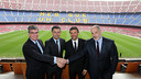 Luis Enrique was joined by Bartomeu, Mestre and Zubizarreta on the day of his presentation as the new Barça manager / PHOTO: MIGUEL RUIZ - FCB