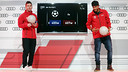 Messi and Neymar receiving their Audi cars. PHOTO: MIGUEL RUIZ-FCB.
