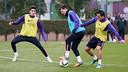 Bartra, Messi et Xavi aujourd'hui. PHOTO: MIGUEL RUIZ-FCB.