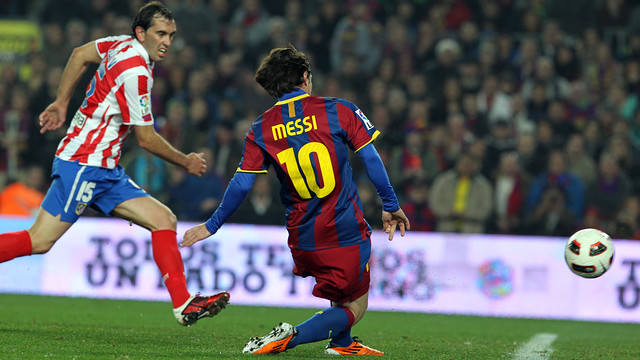 Leo Messi got a hat-trick against Atlético in the 2010/11 season / PHOTO: MIGUEL RUIZ - FCB