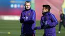 Mathieu et Rafinha, à l'entrainement / PHOTO: ARXIU FCB