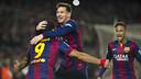Suárez, Messi et Neymar après un but / PHOTO: MIGUEL RUIZ-FCB