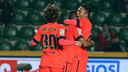 Douglas and Adriano celebrate fellow Brazilian Adriano's goal / PHOTO: MIGUEL RUIZ-FCB