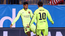 Neymar and Messi celebrate the Brazilian's equaliser / PHOTO: MIGUEL RUIZ-FCB