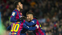 Rafinha, Messi and Neymar celebrate the go-ahead goal in Barça's 3–2 win over Villarreal on Sunday night at Camp Nou. / PHOTO: MIGUEL RUIZ - FCB