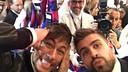 Neymar, Piqué et Javier Faus, lors de la présentation / Photo FCB