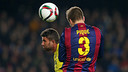 Gerard Piqué beat Musacchio to the ball for Barça's third goal. / MIGUEL RUIZ - FCB