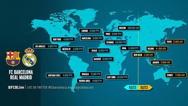 Kick off time around the world for Barça v Real Madrid