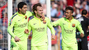 Suárez and Rakitic were involved in the first goal of the day / MIGUEL RUIZ-FCB