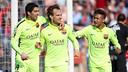 Suárez, Rakitic et Neymar, après le 0-1 / MIGUEL RUIZ-FCB