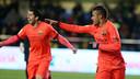 Neymar celebrates his goal in minute three of Barça's 3–1 win over Villarreal on Wednesday 5 March 2015. / MIGUEL RUIZ-FCB