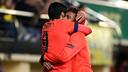 Neymar Jr and Luis Suárez embrace after Barça's third goal at El Madrigal. / MIGUEL RUIZ - FCB
