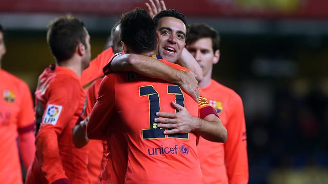 Xavi and Neymar celebrating the third against Villarreal / MIGUEL RUIZ-FCB