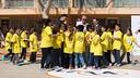 Josep Maria Bartomeu, Johan Cruyff and Jaume Giró are uniting efforts to help children / GERMÁN PARGA-FCB